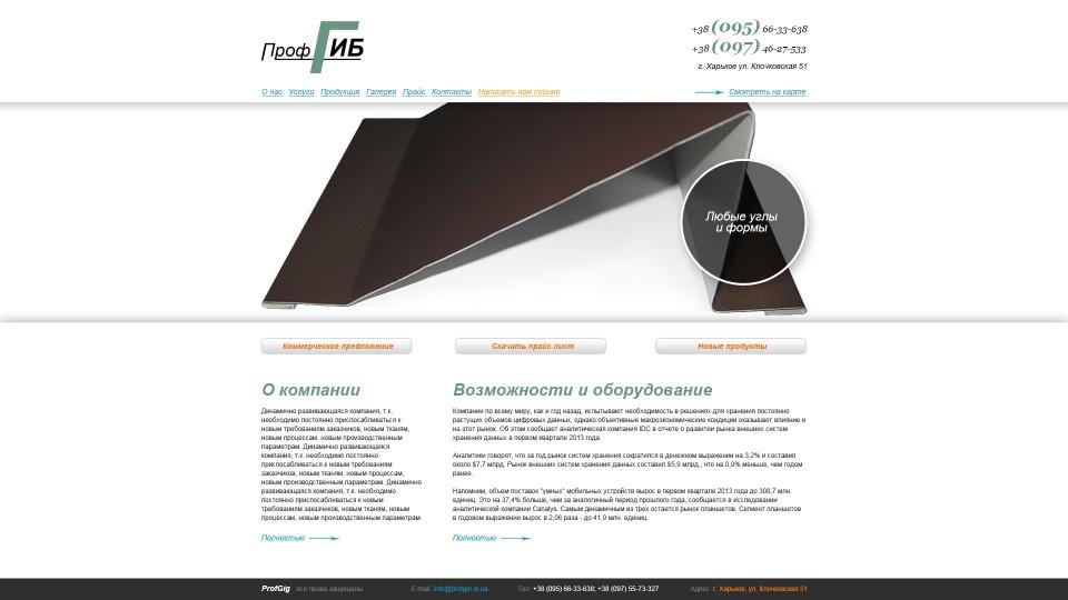 Главная страница компании ПрофГиб
