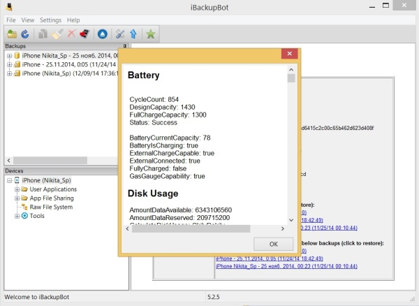 Скриншот iBackupBot More Info