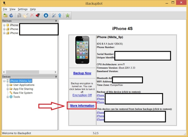 Скриншот iBackupBot