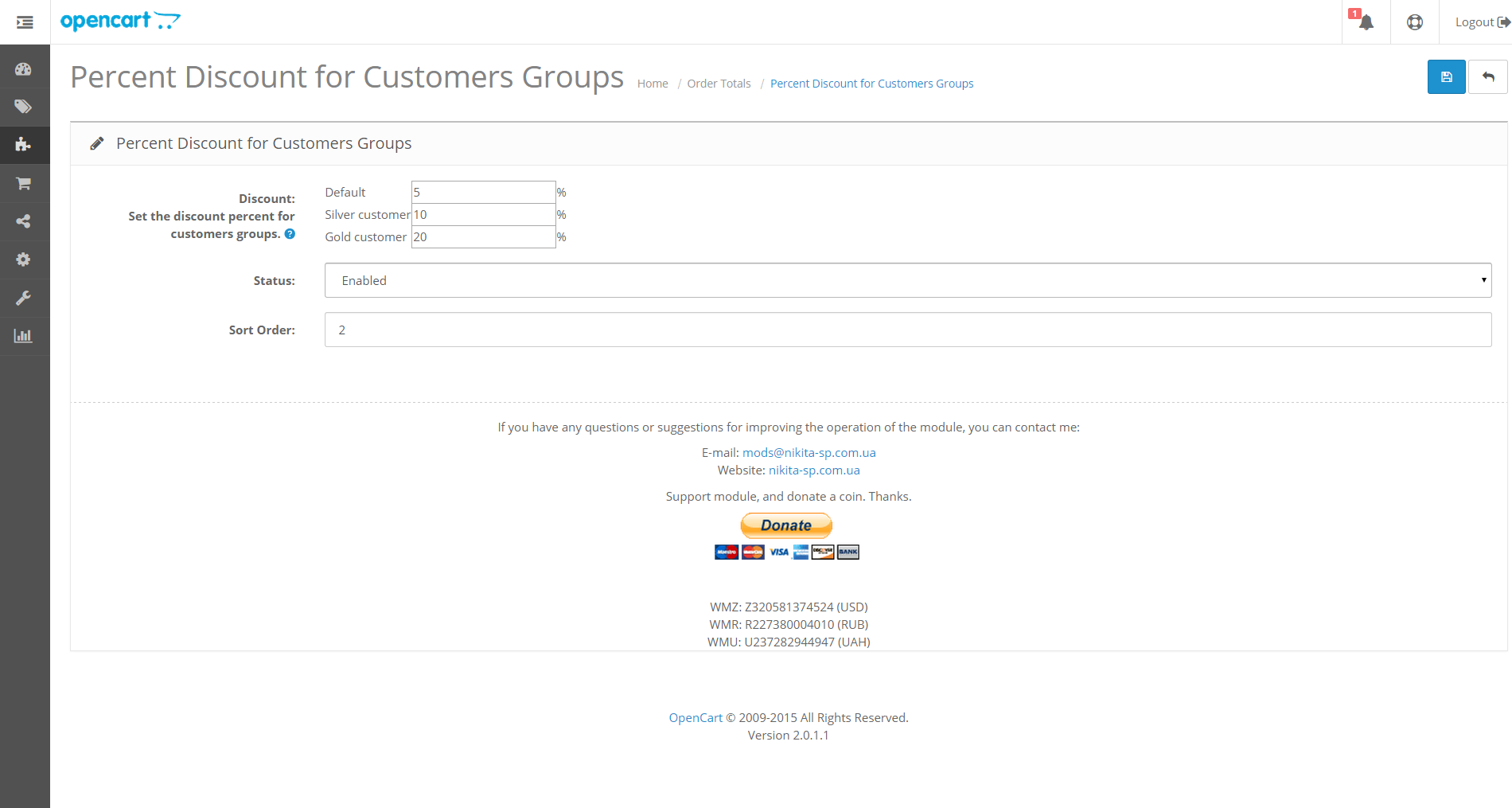 Admin total customer group discount Opencart 2.0