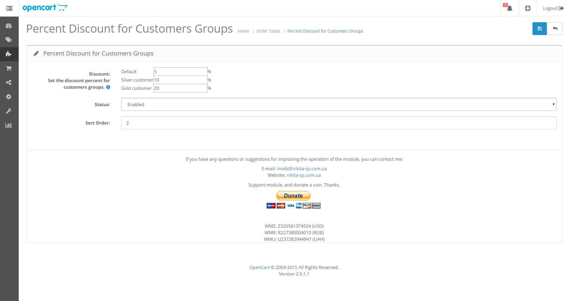 Admin total customer group discount Opencart 2.0