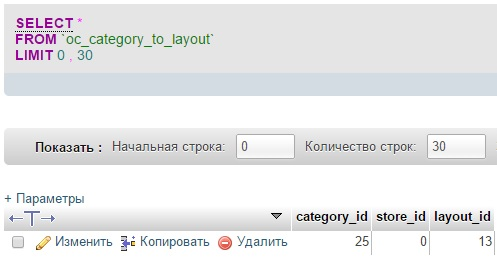 Таблица Category to layout для Opencart