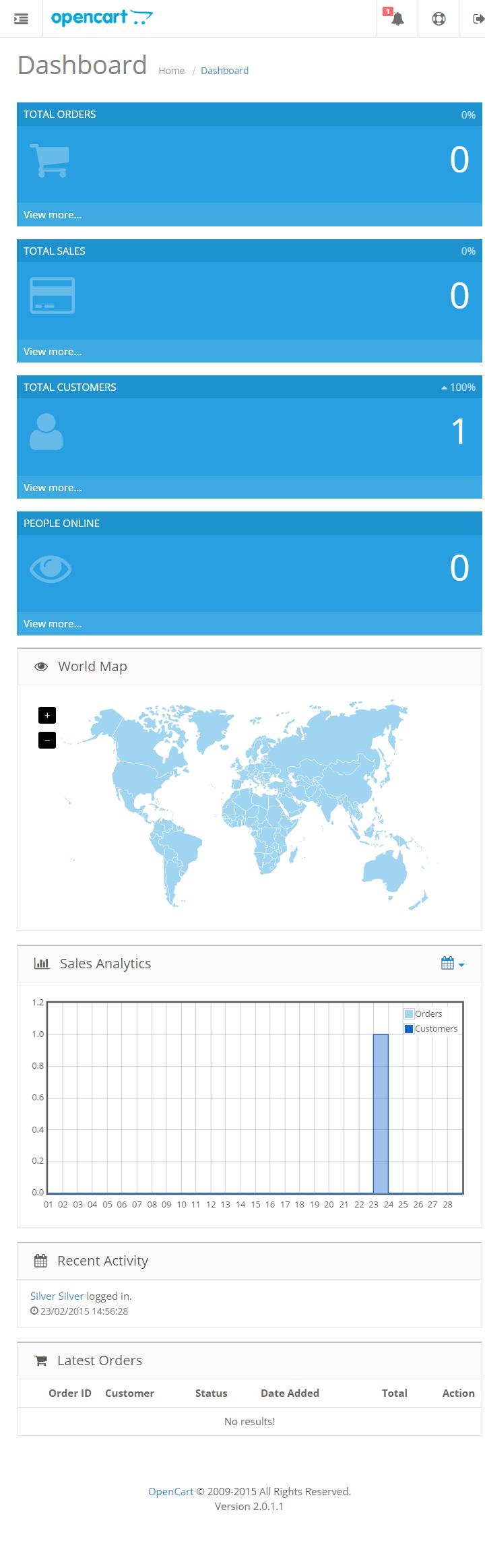 Opencart 2.0 - Административная панель мобильная версия