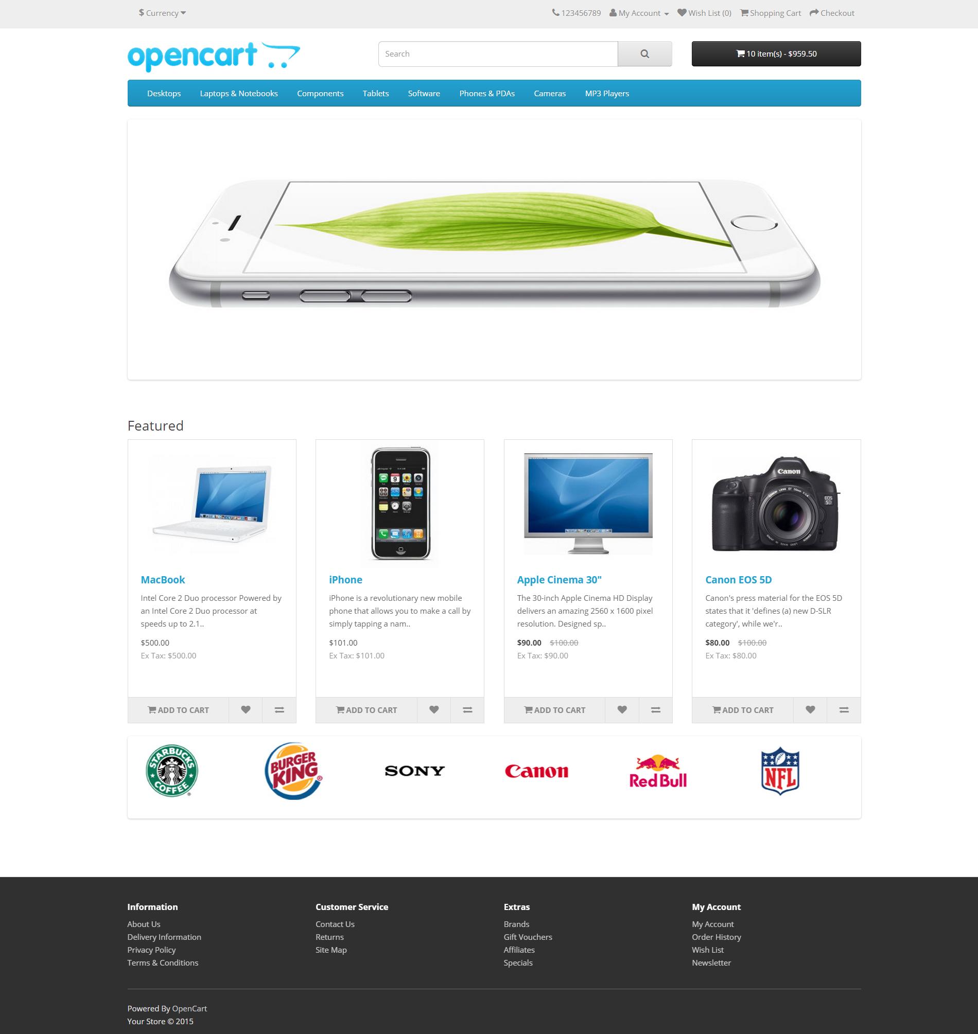 Opencart 2.0 - Главная