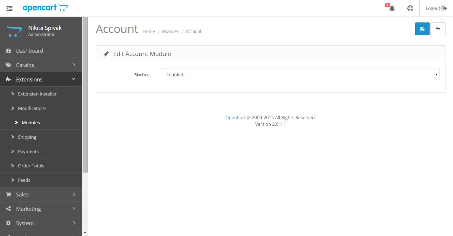 Opencart 2.0 новая страница настройки модуля, без настроек позиции его отображения