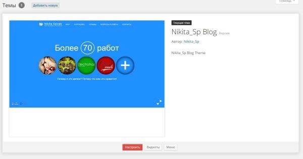 Вид темы Nikita_Sp под WordPress Администратор