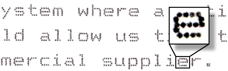 Пример печати матричного принтера
