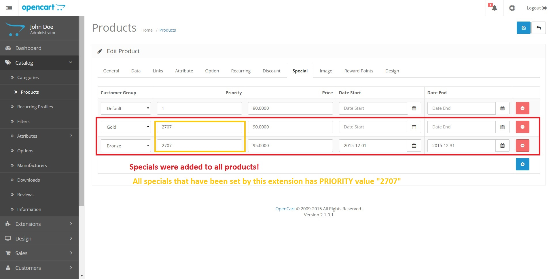 Вкладка Акции продукта ПОСЛЕ применения модуля