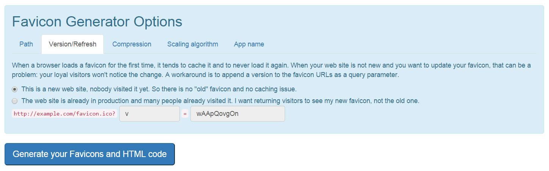 Обновление иконки, если сайт уже имеет иконки - realfavicongenerator