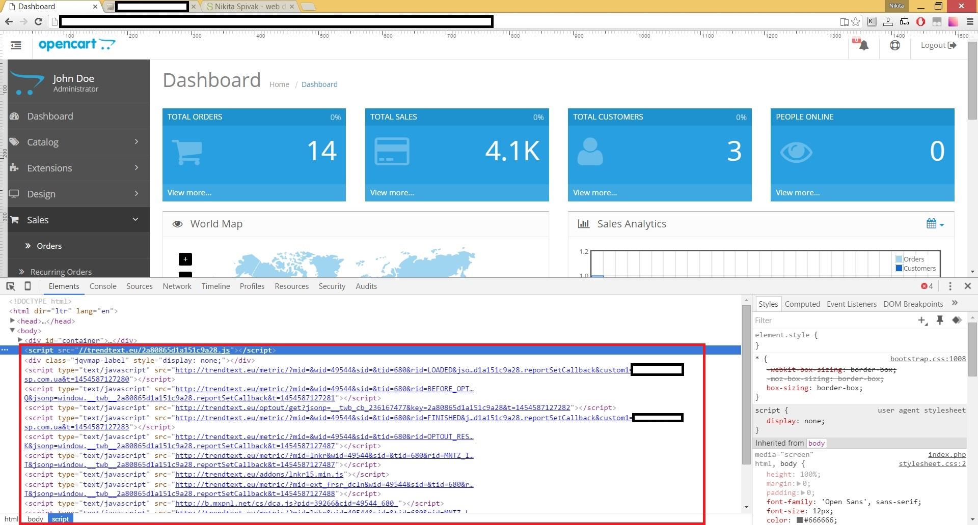 Вирус добавляет текст в страницу trendtext.eu в Chrome